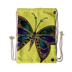 Butterfly Mosaic Yellow Colorful Drawstring Bag (small)