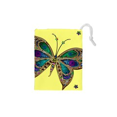Butterfly Mosaic Yellow Colorful Drawstring Pouches (xs)