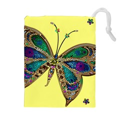 Butterfly Mosaic Yellow Colorful Drawstring Pouches (extra Large)