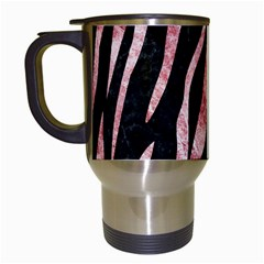 Skin3 Black Marble & Red & White Marble Travel Mug (white)