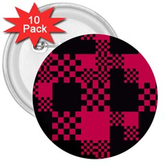 Cube Square Block Shape Creative 3  Buttons (10 Pack)