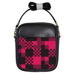Cube Square Block Shape Creative Girls Sling Bags