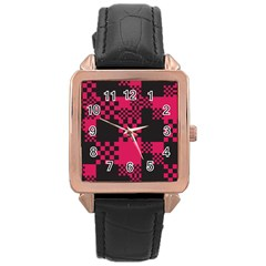 Cube Square Block Shape Creative Rose Gold Leather Watch