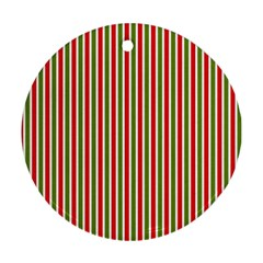 Pattern Background Red White Green Ornament (round)