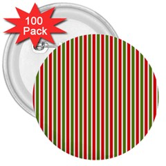Pattern Background Red White Green 3  Buttons (100 Pack)