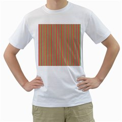 Pattern Background Red White Green Men s T-Shirt (White) (Two Sided)