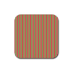 Pattern Background Red White Green Rubber Coaster (Square)
