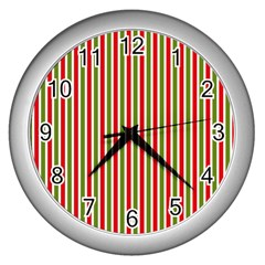 Pattern Background Red White Green Wall Clocks (silver)