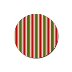 Pattern Background Red White Green Rubber Round Coaster (4 Pack)