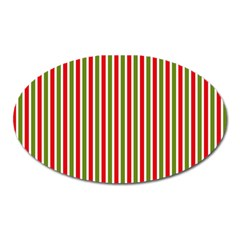 Pattern Background Red White Green Oval Magnet