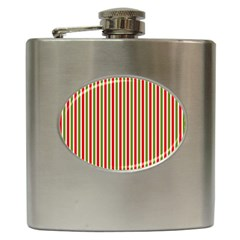 Pattern Background Red White Green Hip Flask (6 Oz)