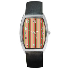 Pattern Background Red White Green Barrel Style Metal Watch