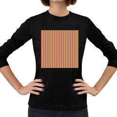 Pattern Background Red White Green Women s Long Sleeve Dark T Shirts