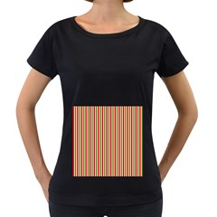 Pattern Background Red White Green Women s Loose Fit T Shirt (black)