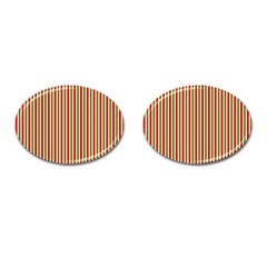 Pattern Background Red White Green Cufflinks (oval)