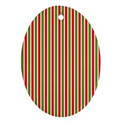 Pattern Background Red White Green Oval Ornament (two Sides)