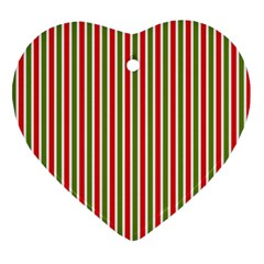 Pattern Background Red White Green Heart Ornament (2 Sides)