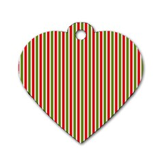 Pattern Background Red White Green Dog Tag Heart (Two Sides)