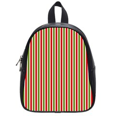 Pattern Background Red White Green School Bags (small)