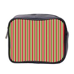 Pattern Background Red White Green Mini Toiletries Bag 2 Side