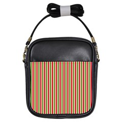 Pattern Background Red White Green Girls Sling Bags