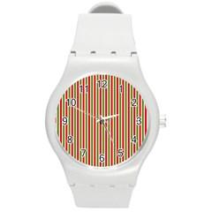 Pattern Background Red White Green Round Plastic Sport Watch (m)
