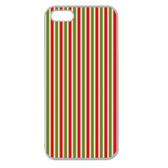 Pattern Background Red White Green Apple Seamless Iphone 5 Case (clear)