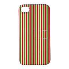 Pattern Background Red White Green Apple Iphone 4/4s Hardshell Case With Stand