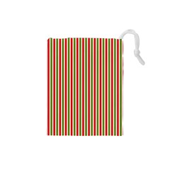 Pattern Background Red White Green Drawstring Pouches (small)
