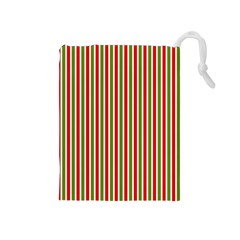 Pattern Background Red White Green Drawstring Pouches (medium)