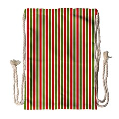 Pattern Background Red White Green Drawstring Bag (large)