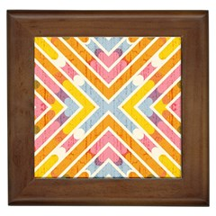 Line Pattern Cross Print Repeat Framed Tiles