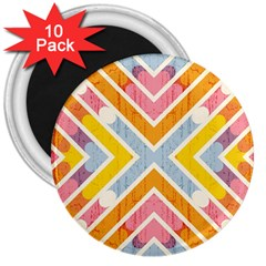 Line Pattern Cross Print Repeat 3  Magnets (10 Pack)