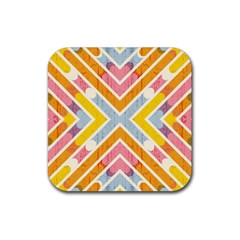 Line Pattern Cross Print Repeat Rubber Square Coaster (4 Pack)