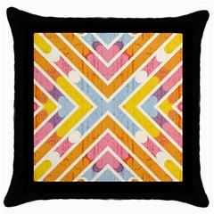 Line Pattern Cross Print Repeat Throw Pillow Case (black)
