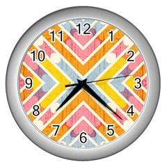 Line Pattern Cross Print Repeat Wall Clocks (silver)