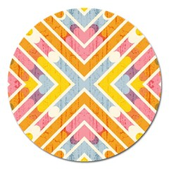 Line Pattern Cross Print Repeat Magnet 5  (round)