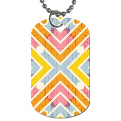 Line Pattern Cross Print Repeat Dog Tag (one Side)