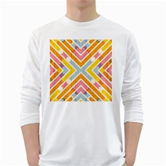 Line Pattern Cross Print Repeat White Long Sleeve T Shirts