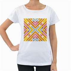 Line Pattern Cross Print Repeat Women s Loose Fit T Shirt (white)