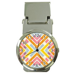 Line Pattern Cross Print Repeat Money Clip Watches