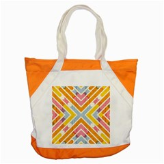 Line Pattern Cross Print Repeat Accent Tote Bag