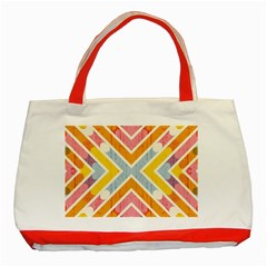 Line Pattern Cross Print Repeat Classic Tote Bag (red)