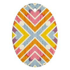 Line Pattern Cross Print Repeat Oval Ornament (two Sides)