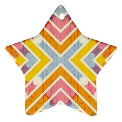 Line Pattern Cross Print Repeat Star Ornament (two Sides)