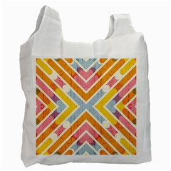 Line Pattern Cross Print Repeat Recycle Bag (two Side)