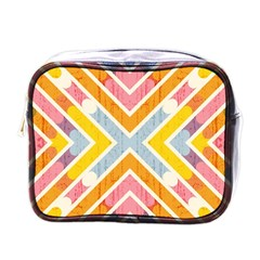 Line Pattern Cross Print Repeat Mini Toiletries Bags