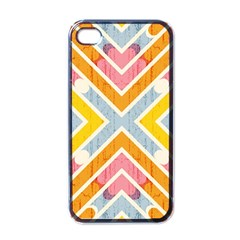 Line Pattern Cross Print Repeat Apple Iphone 4 Case (black)