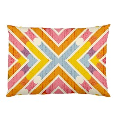 Line Pattern Cross Print Repeat Pillow Case (two Sides)