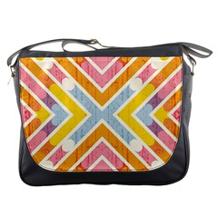 Line Pattern Cross Print Repeat Messenger Bags